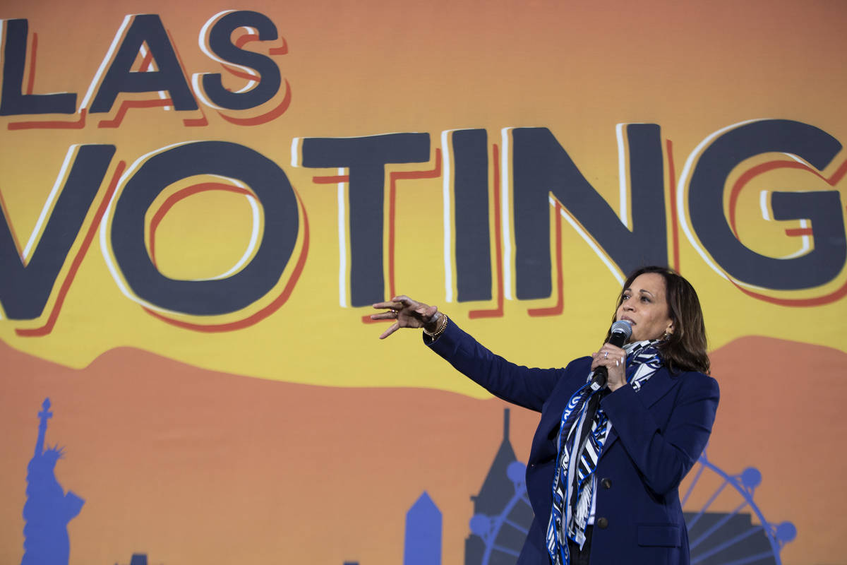 Sen. Kamala Harris campaigns for herself and Joe Biden at Kianga Isoke Palacio Park on Tuesday, ...