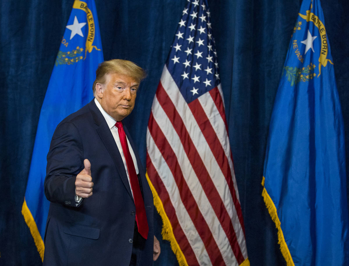 President Donald Trump departs following a press conference with Nevada business leaders large ...
