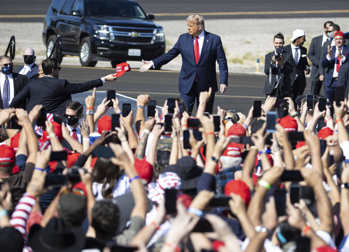 President Donald Trump takes the stage at Make America Great Again victory rally at Laughlin/Bu ...