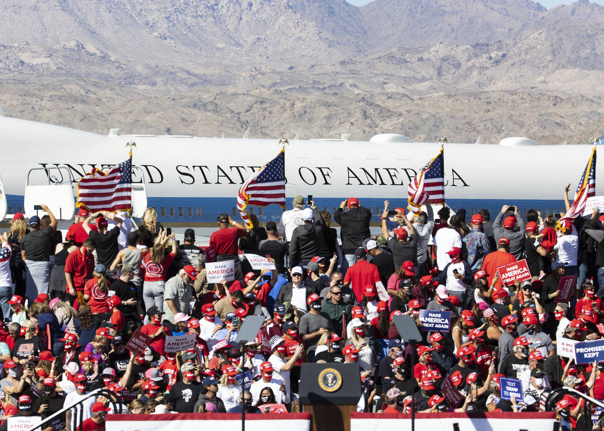President Donald Trump arrives on Air Force One at Laughlin/Bullhead International Airport to a ...