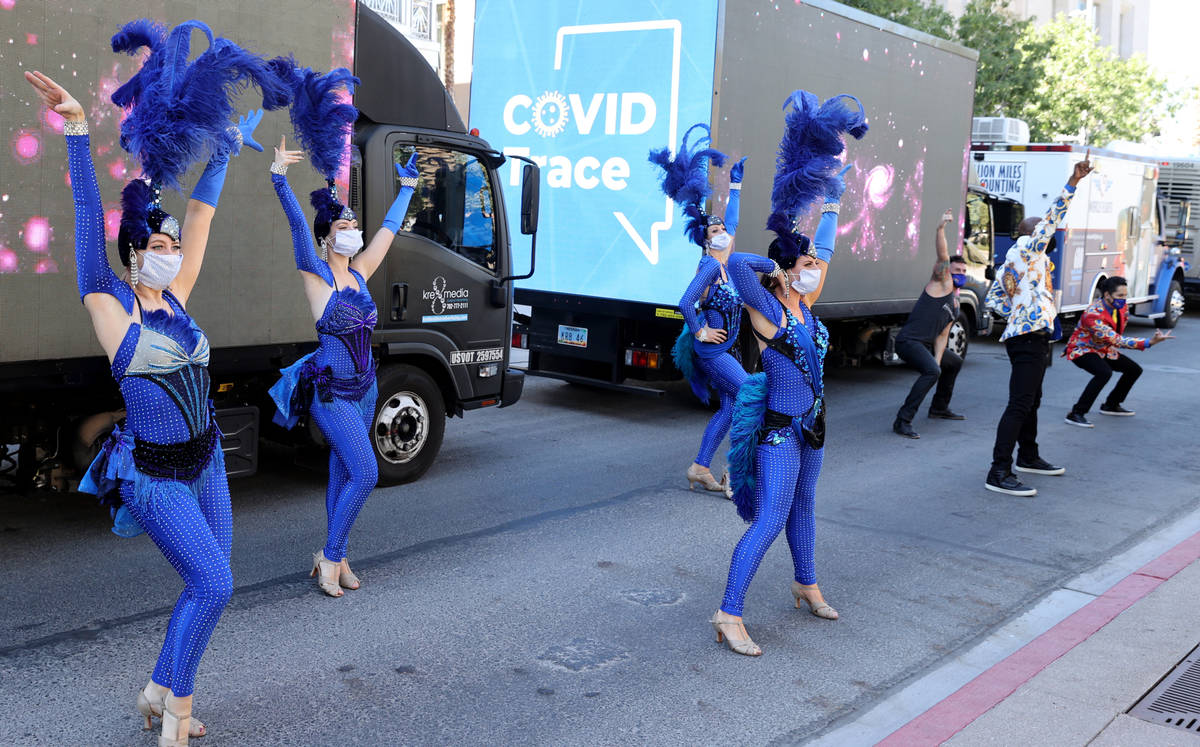 Performers, including from left, Skylar Harris, Chloe Bunce, Rebecca O'Hara and Chelsea Dee put ...