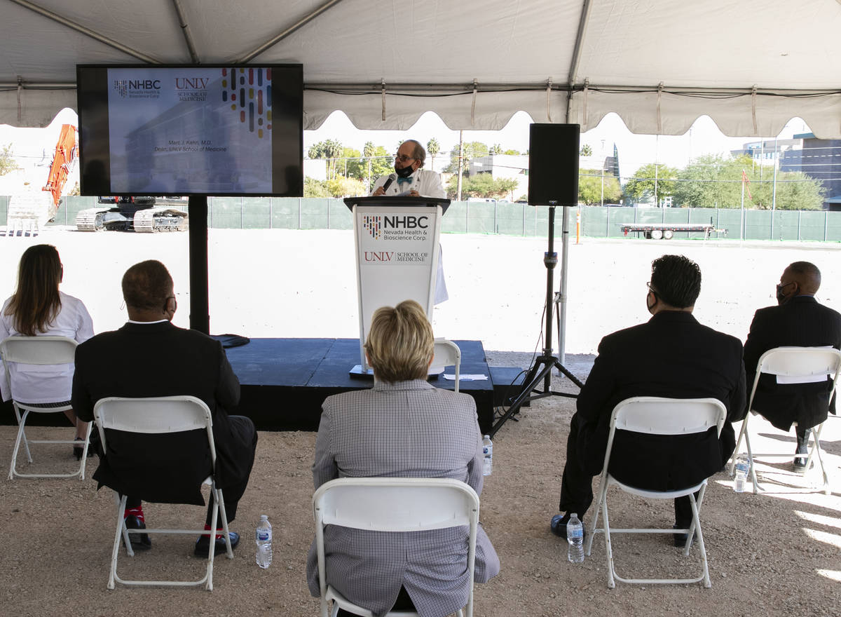 Dr. Marc Kahn, Dean, UNLV School of Medicine, speaks during a Groundbreaking ceremony for UNLV ...