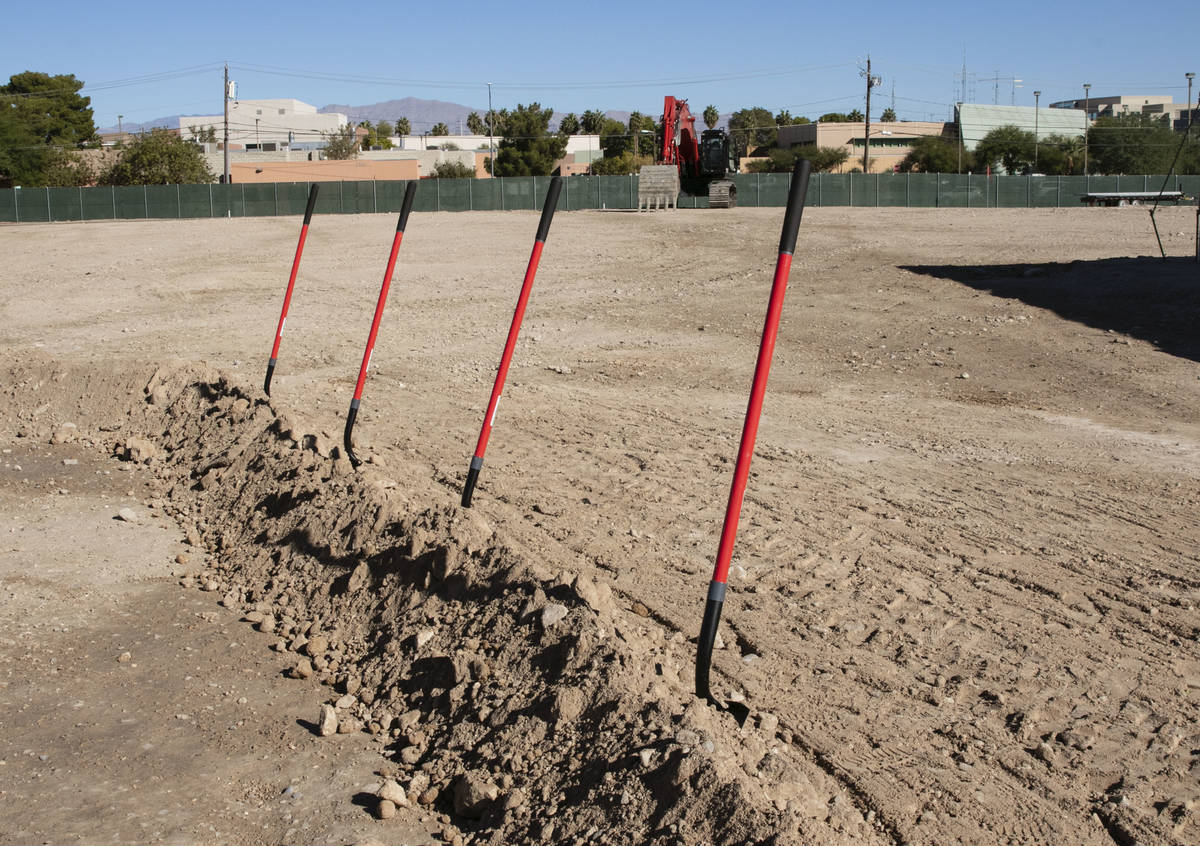 Heavy equipment and shovels are seen at a construction site of the future UNLV School of Medici ...