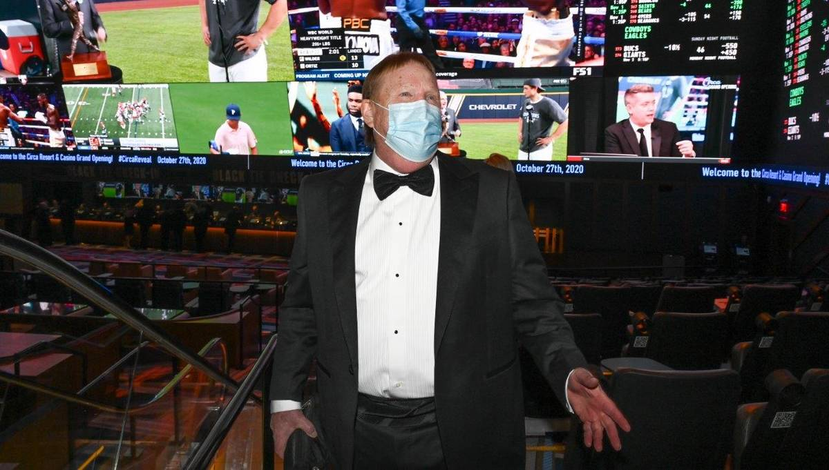 Las Vegas Raiders owner Mark Davis is shown at Circa's sports book on the resort's official ope ...