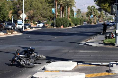 The scene of a car crash at the intersection of Rancho Drive and Palomino Lane in Las Vegas, We ...