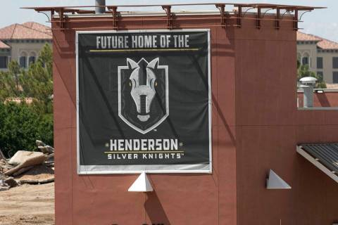 Home of the Henderson Silver Knights sign is posted as construction crews are demolishing the P ...