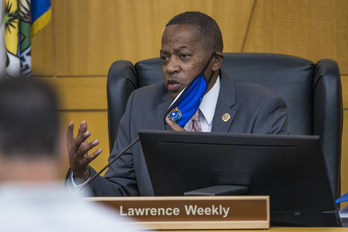 Commissioner Lawrence Weekly speaks as vice chairman during a Clark County Board of Commissione ...