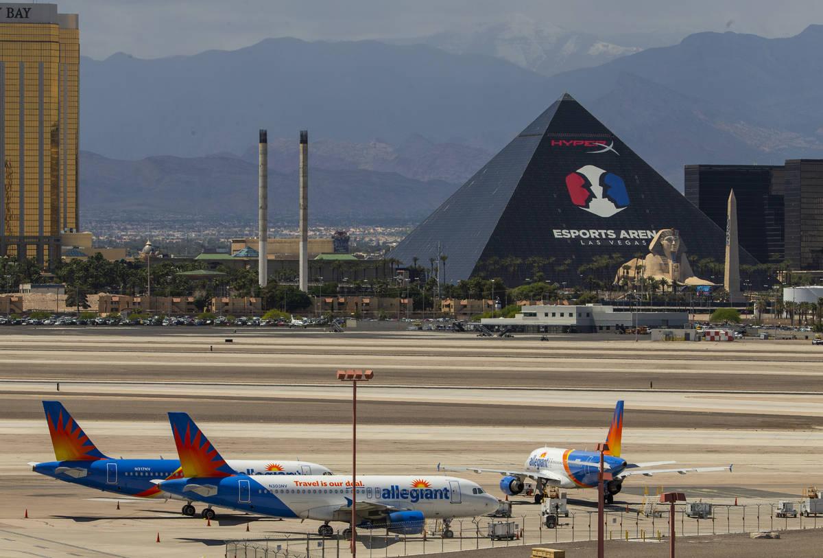 Las Vegas-based Allegiant Air airplanes are sitting on the tarmac at McCarran International Air ...