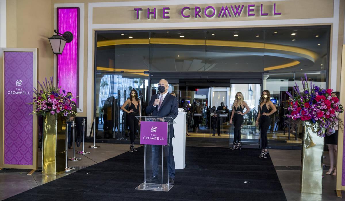 Gary Selesner, Caesars Entertainment regional president, speaks at the The Cromwell during the ...
