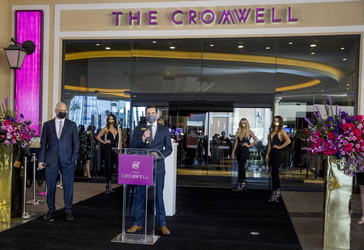 Ken Janssen, center, senior Vice President and general manager for the The Cromwell, speaks dur ...