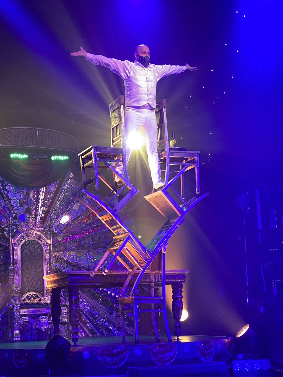 """The opening chair-stacking scene is shown in the return of """"Absinthe"""" at Caesars Palace on Wedn ..."""