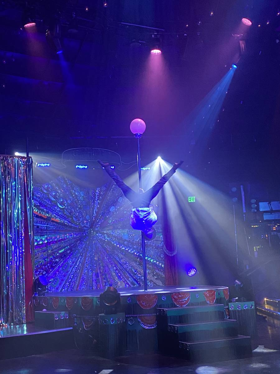 """A pole-acrobatic act is shown in the return of """"Absinthe"""" at Caesars Palace on Wednesday, Oct. ..."""