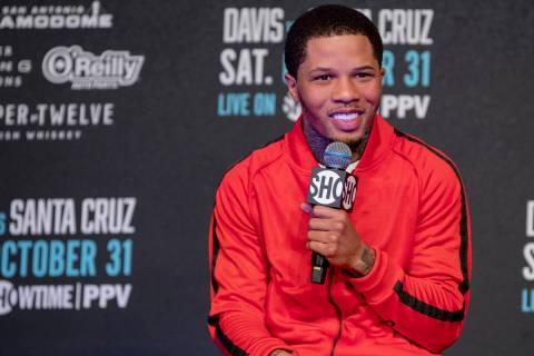 Gervonta Davis speaks during his final press conference with Leo Santa Cruz in San Antonio, Tex ...