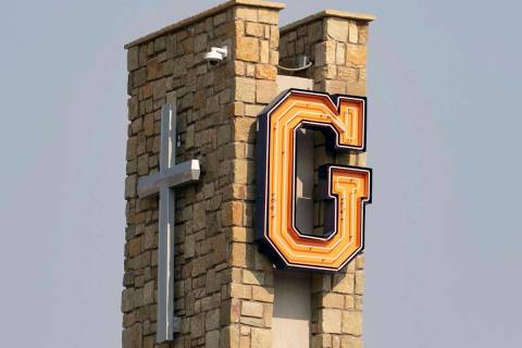 This Aug. 21, 2020, file photo shows Bishop Gorman Catholic High School in Las Vegas. (Bizuayeh ...