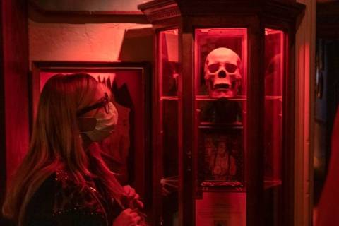 Brittany Pope, 28, of Jackson, Georgia, takes a tour of Zak Bagans' Haunted Museum on the eve o ...