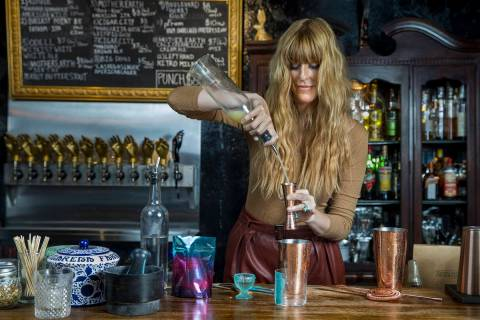 Mariena Mercer Boarini prepares a cocktail behind the bar at the Velveteen Rabbit using Electra ...