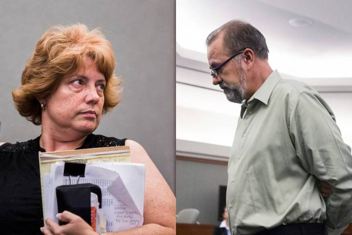 A composite image of disbarred Las Vegas lawyer Jeanne Winkler, left, and former attorney Rober ...