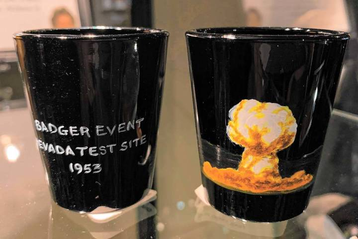 Shot glasses that recall Nevada's nuclear history. (National Atomic Testing Museum)