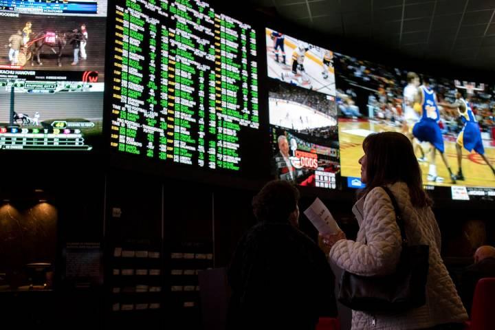 Race & Sports, the sportsbook at Palms, on Thursday, Nov. 21, 2019, in Las Vegas. (Ellen Sc ...
