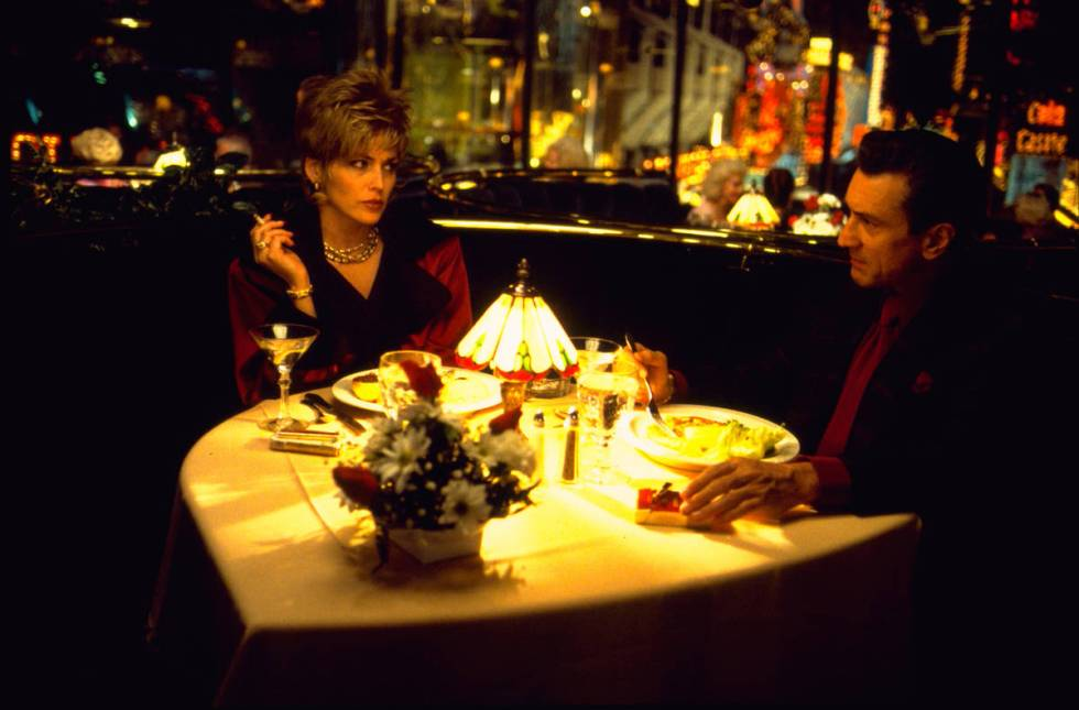 "Ginger (Sharon Stone) and Sam ""Ace"" Rothstein (Robert De Niro) have dinner at The Plaza in a sc ..."