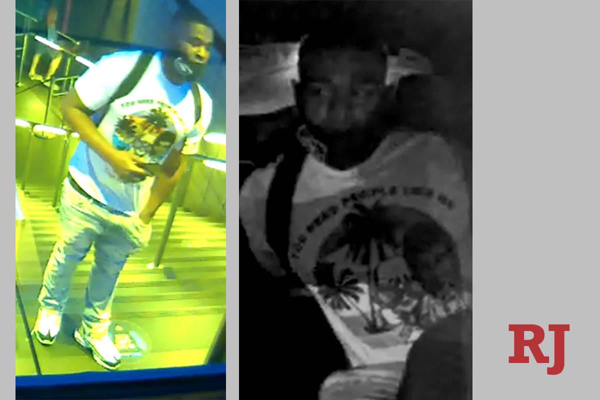 Photos of a man sought in an Oct. 11 shooting at the Miracle Mile Shops. (Las Vegas Metropolita ...