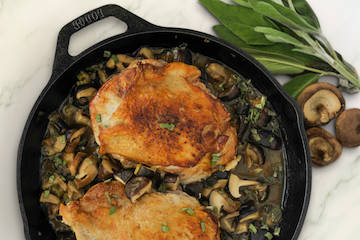 Skillet Turkey Thighs in Sage Mushroom Gravy (Cynthia Graubart)