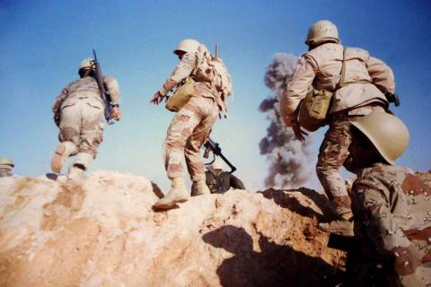Saudi soldiers on the attack during a training exercise with U.S. Troops during Operation Deser ...