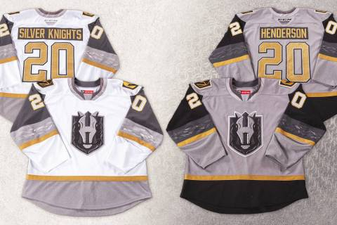 The Henderson Silver Knights' new jersey's, which were unveiled Monday night. (Photo courtesy V ...