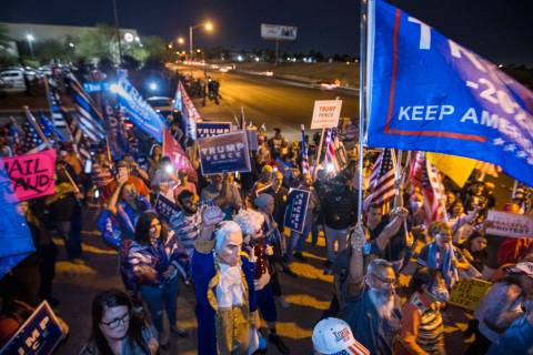 Protests in support for President Donald Trump continue outside the Clark County Election Depar ...