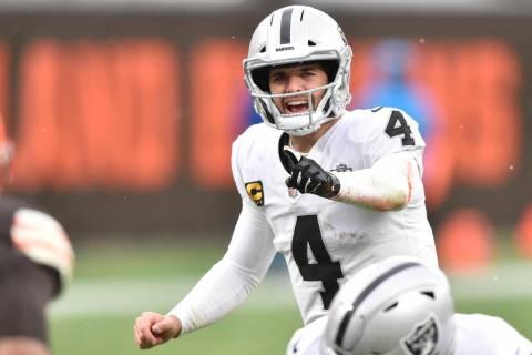 Las Vegas Raiders quarterback Derek Carr (4) calls a play during an NFL football game against t ...