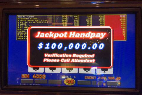A local hit a royal flush for a $100,000 jackpot at Rampart Casino on Thursday, Nov. 5, 2020. ( ...
