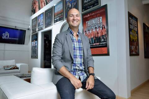 Adam Steck, CEO of SPI Entertainment, poses at the company's offices at 4090 E. Post Road in La ...
