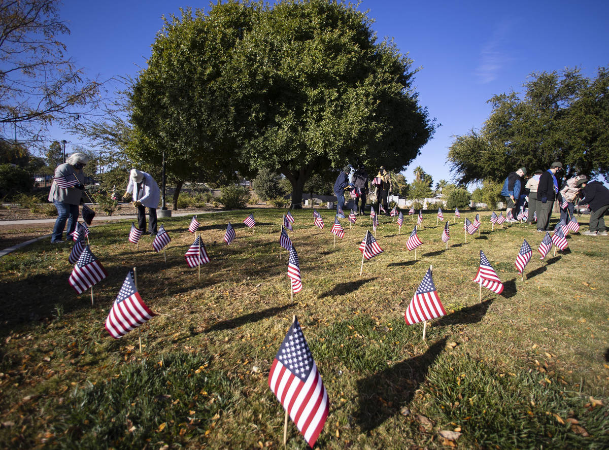 Nevada Garden Club planted 200 flags for Veterans Day at the Garden of the Pioneer Woman at Lor ...