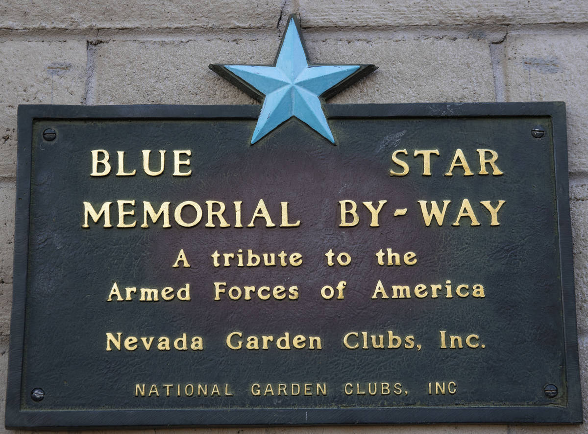 Bleu Star plaque is seen after being rededicated at the Nevada Garden Club at Lorenzi Park, on ...