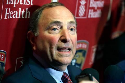 National Hockey League Commissioner Gary Bettman speaks to members of the media , Saturday, Mar ...