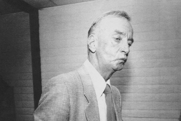 """Frank """"Lefty"""" Rosenthal smokes a cigarette after a hearing in 1988 before the Nevada Gaming ..."""
