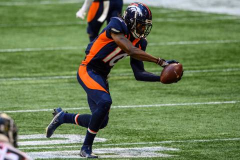 Denver Broncos wide receiver Jerry Jeudy (10) catches a pass during the second half of an NFL f ...