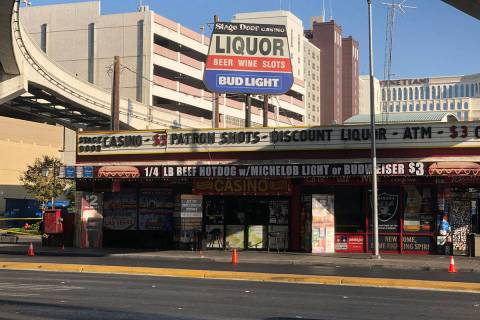 Police investigate a shooting Saturday, Sept. 26, 2020, outside Stage Door Casino, 4000 Linq La ...