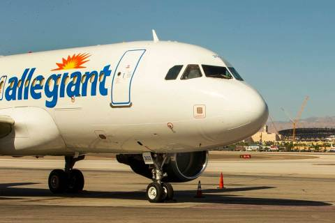 Allegiant unveils a new Golden Knights-themed plane at McCarran with the new Allegiant Stadium ...