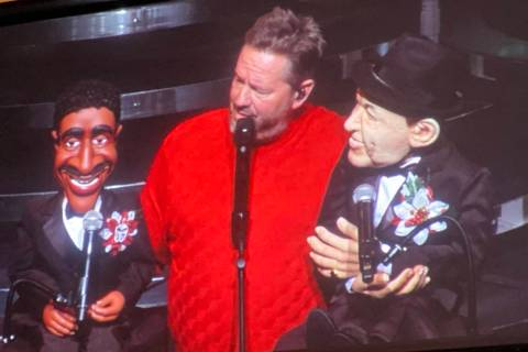 "Terry Fator is shown with his Sammy Davis Jr. and Frank Sinatra figures during ""A Very Terrry C ..."