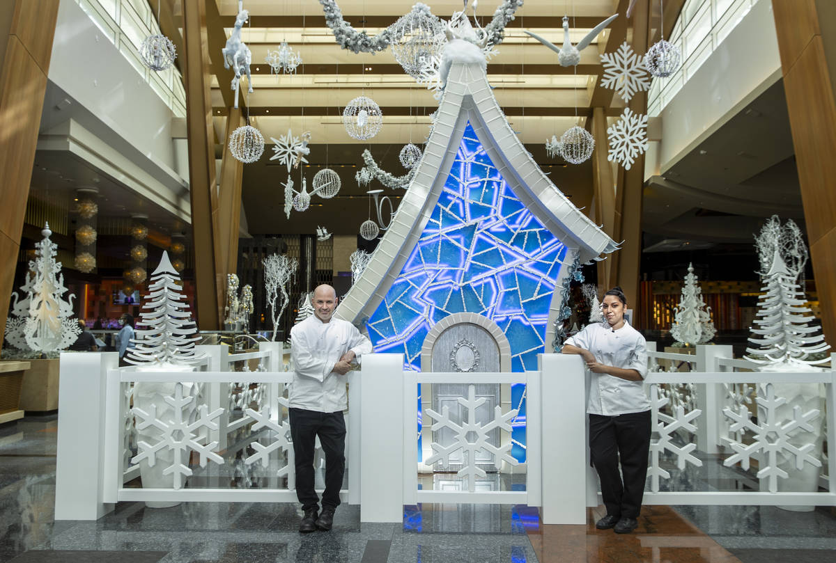 Aria pastry chef Mathieu Lavallee, left, and assistant chef Andrea Madrid at the unveiling of t ...