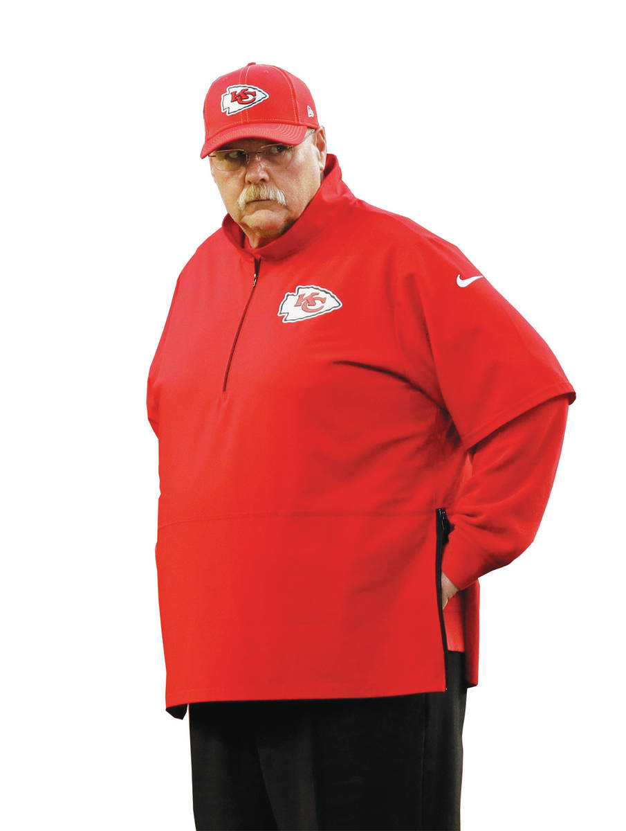 Kansas City Chiefs head coach Andy Reid watches before the NFL Super Bowl 54 football game betw ...