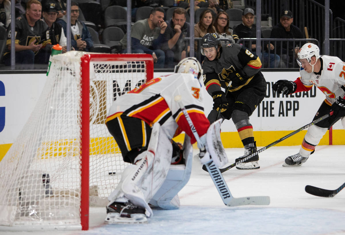Golden Knights center Cody Glass (9) makes a shot on goal, and scores, during the third period ...