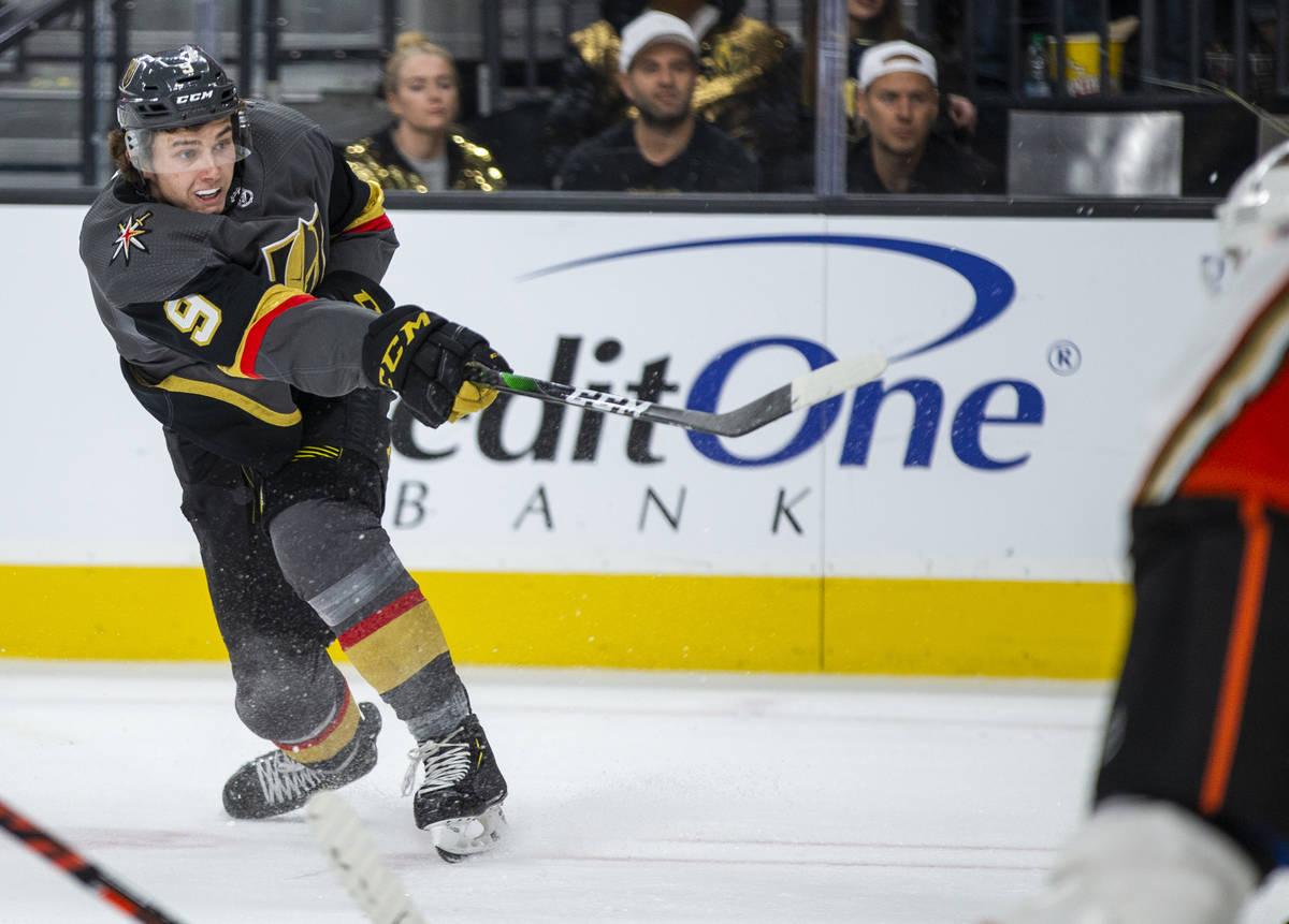 Vegas Golden Knights center Cody Glass (9) fires a shot a goal versus the Anaheim Ducks during ...