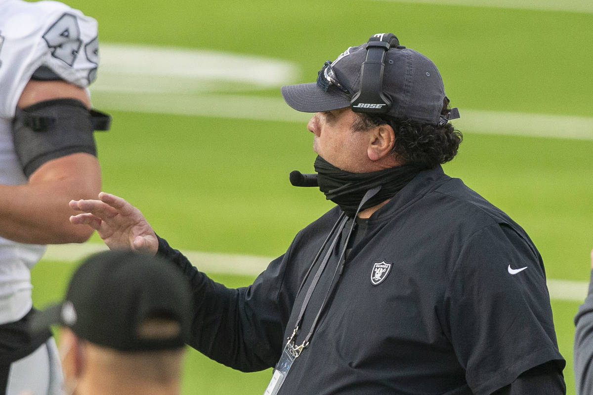 Las Vegas Raiders defensive coordinator Paul Guenther gestures during the first quarter of an N ...