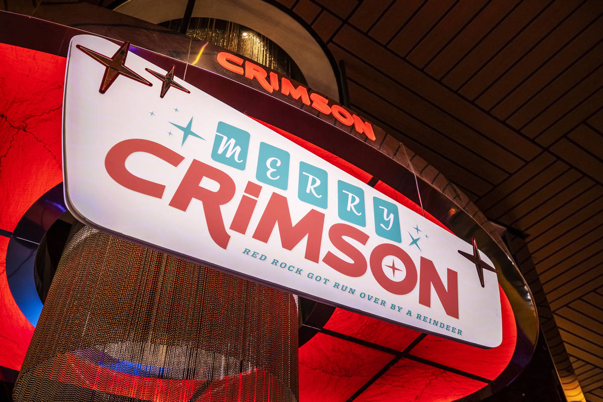 Signage for Red Rock Resort's Christmas-themed popup bar Merry Crimson on Monday, Nov. 23, 2020 ...