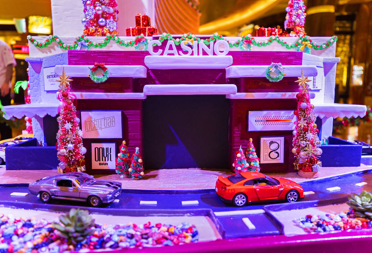 The front entrance of a scale model of Red Rock Resort made of gingerbread on Monday, Nov. 23, ...