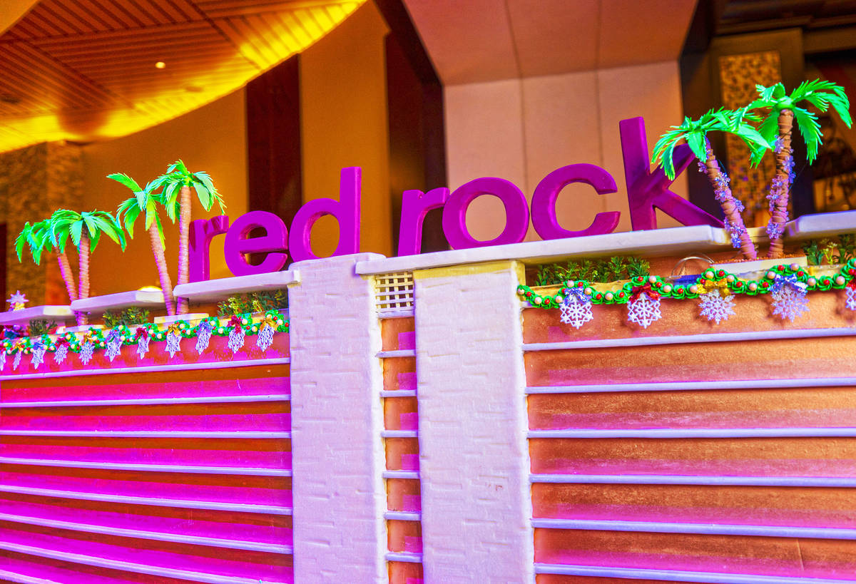 A scale model of Red Rock Resort made of gingerbread on Monday, Nov. 23, 2020, at Red Rock Reso ...