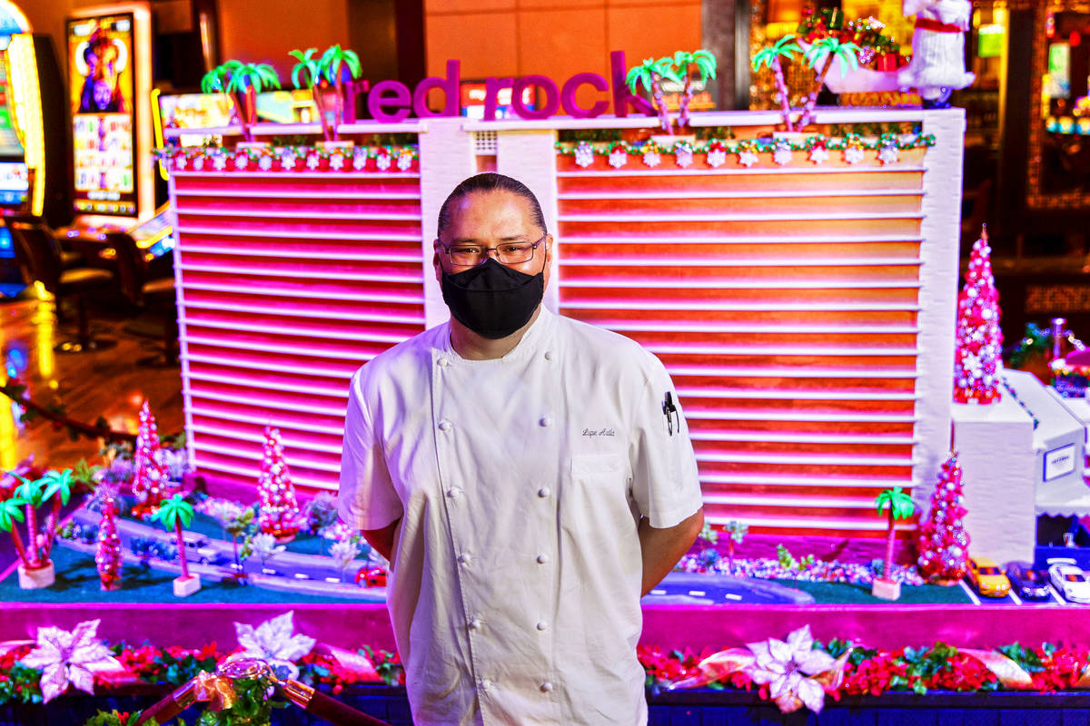 Executive property chef Lupe Avila designed the scale model of Red Rock Resort made of gingerbr ...