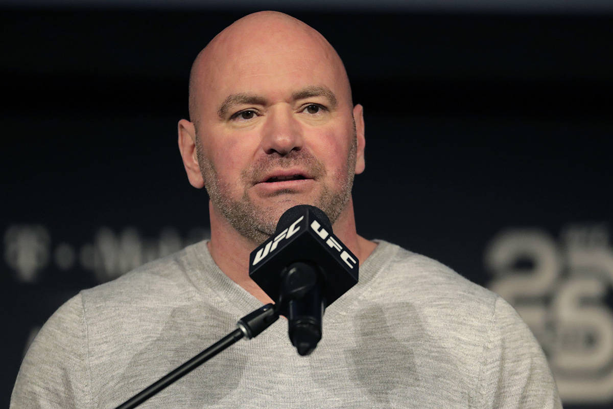 FILE - In this Nov. 2, 2018, file photo, UFC president Dana White speaks at a news conference i ...